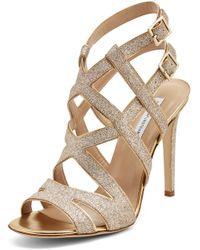Diane von Furstenberg Valene Glitter Strappy Heel beige - Lyst