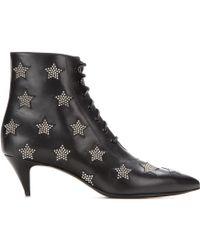 Saint Laurent Cat Embellished Leather Ankle Boots - Lyst