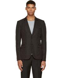 Calvin Klein Black Tonal Pattern Wool Blazer - Lyst