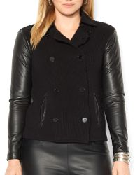 Ralph Lauren Lauren Plus Faux Leather Sleeve Cardigan - Lyst