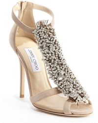 Jimmy Choo Nude Suede Crystal Pin Fortune Heel Sandals - Lyst