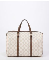 Gucci Pre-Owned: Ivory And Tan Gg Canvas 'Boston' Top Handle Bag - Lyst