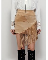 Free People | Liberty Garden Womens Vegan Fringe Mini Skirt | Lyst