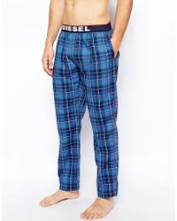 Diesel Check Lounge Bottoms - Lyst