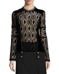 Nanette Lepore Long-sleeve Lace & Velvet Peasant Blouse - Lyst