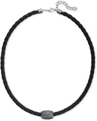 Swarovski Men'S Caesar Rhodium-Plated Black Leather Necklace - Lyst