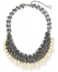 Rebecca Minkoff Pearl Mesh Statement Necklace - Lyst