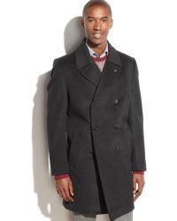 Vince Camuto Double-Breasted Water-Repellent Wool-Blend Coat - Lyst