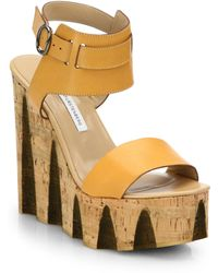 Diane Von Furstenberg Tinsley Leather Cork Wedge Sandals - Lyst