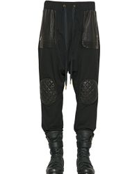 Skingraft - Leather & Cotton Biker Jogging Trousers - Lyst