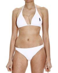 Ralph Lauren Beachwear Bikini Triangle Large Pony white - Lyst