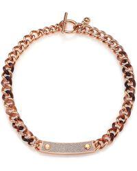 Michael Kors Blush Tortoise-Print PavÉ Plaque Chain Necklace - Lyst