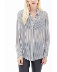 Forever 21 Striped Chiffon Blouse - Lyst