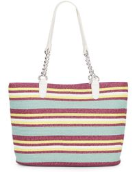 Saks Fifth Avenue Chain-Detail Striped Straw Tote - Lyst
