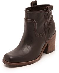 Belle By Sigerson Morrison Lagoon Square Toe Booties  Dark Brown - Lyst