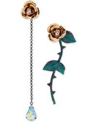 Betsey Johnson Goldtone Flower Mismatch Earrings - Lyst