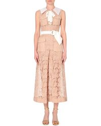 Alessandra Rich Semi-Sheer Lace Dress - For Women beige - Lyst