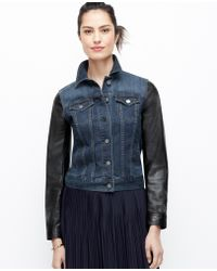 Ann Taylor Faux Leather Sleeve Denim Jacket - Lyst