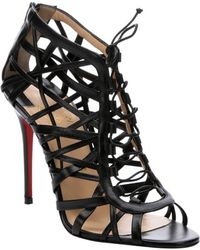Christian Louboutin Black Leather 'Laurence Anyway 100' Caged Heels - Lyst