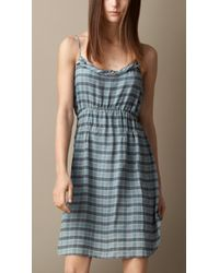 Burberry Check Silk Crépon Dress - Lyst