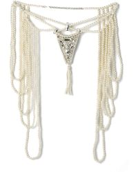 Haute Hippie Imitation Pearl & Crystal Neck Piece - Antique Ivory - Lyst