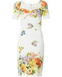 Dolce & Gabbana Floralprint Silk Charmeuse Dress - Lyst