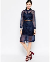 Antipodium - Foxie Silk Shirt Dress With Metallic Slip - Lyst