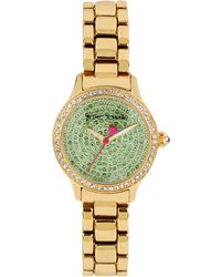 Betsey Johnson Ladies Crystallized Goldtone Watch with Jade Crystal Dial - Lyst