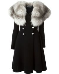 Alexander McQueen Fur Collar Coat - Lyst