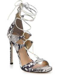 Stuart Weitzman Snake-Embossed Leather Lace-Up Sandals - Lyst