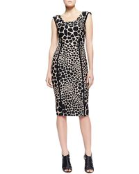 Michael Kors Animalprint Fitted Dress - Lyst