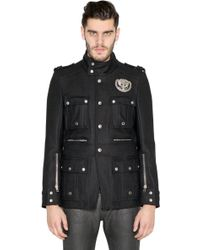 Diesel Black Gold Metal Badge Wool Military Jacket - Lyst