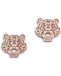 Kenzo Mini Tiger Earrings - Pink Gold - Lyst