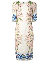 Dolce & Gabbana Fitted Floral Print Dress - Lyst