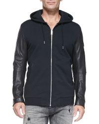 Diesel Zip-front Hoodie W Leather Sleeves - Lyst