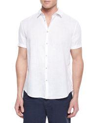 John Varvatos Short-Sleeve Woven Linen Shirt - Lyst