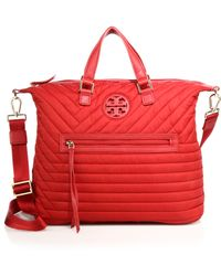 Tory Burch | Quilted Nylon Slouchy Satchel | Lyst