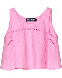 House of Holland Embroidery Trapeze Top pink - Lyst