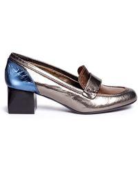 Lanvin Block Heel Metallic Leather Loafers gold - Lyst