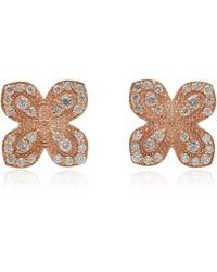 Jamie Wolf | Rose Gold Pave Diamond Scallop Edge Flower Stud Earrings | Lyst