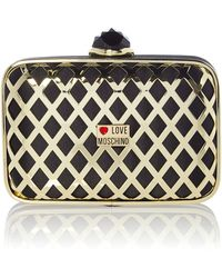 Love Moschino Mini Gold Crystal Metallic Clutch Bag - Lyst