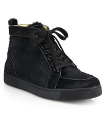 Christian Louboutin Rantus Orlato Calf Hair & Leather Lace-Up Sneakers black - Lyst