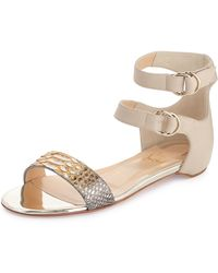 Christian Louboutin Tres Bea Metallic Python & Leather Flat Red Sole Sandal - Lyst