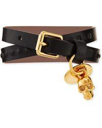 Alexander McQueen Mens Doublewrap Leather Skull Bracelet - Lyst