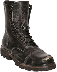 Diesel Leather Laceup Boots - Lyst