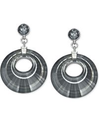 Swarovski Palladiumplated Pleated Circlecut Silver Night Crystal Drop Earrings - Lyst