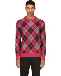 Saint Laurent Pink and Grey Mohair Argyle Sweater - Lyst