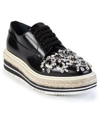 Prada | Crystal-embellished Microsole Lace-up Espadrille Shoes | Lyst