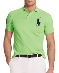 Polo Ralph Lauren Custom-Fit Big Pony Mesh Polo green - Lyst