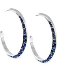 Vince Camuto Silvertone Crystal Pave Cshaped Hoop Earrings - Lyst